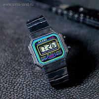 """Часы наручные детские """"Сказка"""", электронные, с силиконовым ремешком, черные 19см (2,5*2 см)"""