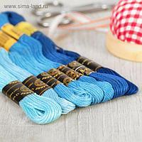 Набор ниток мулине «Цветик-Семицветик», 10 ± 1 м, 7 шт, цвет синий спектр