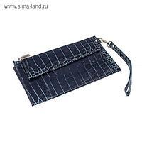 Портмоне женское, отдел для купюр, для монет, для кредитных карт, внешний карман, цвет синий