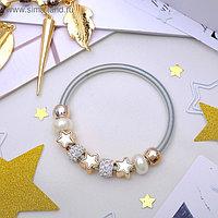 """Браслет жемчуг """"Марджери"""" звёзды, цвет белый в серебре, d=6,5 см"""