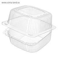 Контейнер с неразъёмной крышкой РК-11/2, квадратный, цвет прозрачный, размер 13,2 х 13,1 х 9,3 см, объём 1,07