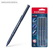 Набор ручек капиллярных 3 цвета Erich Krause F-15, узел 0.6 мм, чернила: синие, чёрные, красные, в блистере