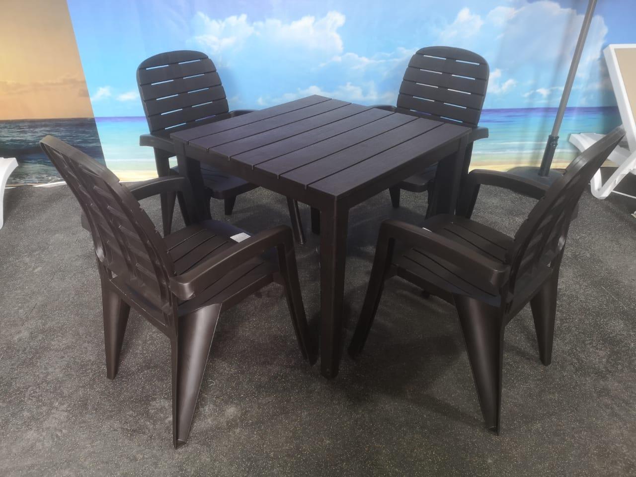 Комплект кресла, стол пластиковые «Прованс», цвета бежевый, белый, зеленый - фото 1