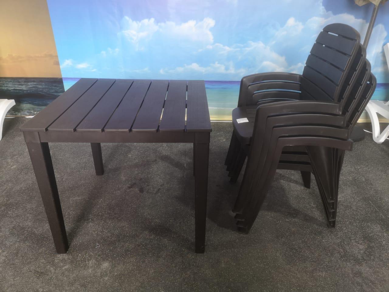 Комплект кресла, стол пластиковые «Прованс», цвета бежевый, белый, зеленый - фото 2