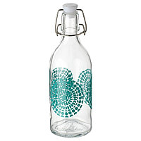 КОРКЕН Бутылка с пробкой, прозрачное стекло, с рисунком, 0.5 л