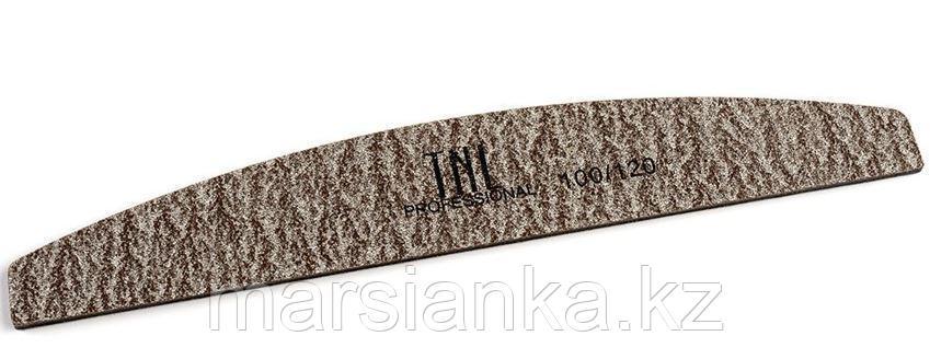"""Пилка для ногтей """"лодочка"""" 100/180 TNL, коричневая в уп. пластик основа"""