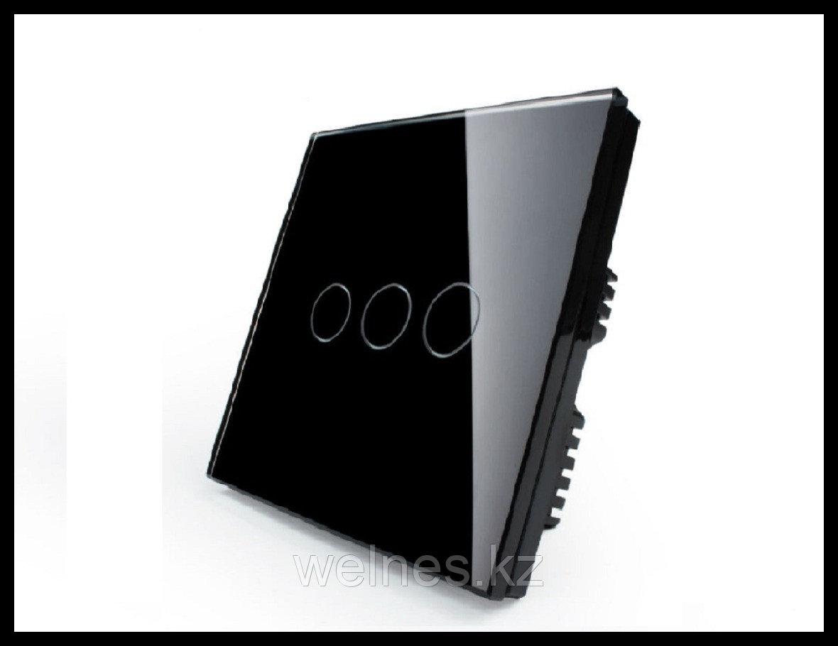 Сенсорный выключатель Touch Me Black (трехлинейный)