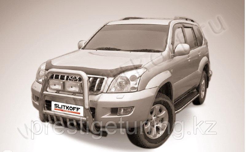 Кенгурятник d76 высокий с защитой картера Toyota Land Cruiser Prado 120 2003-09
