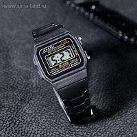 Часы наручные детские электронные, с силиконовым ремешком, черные, 22 см (3,5*2,7см)
