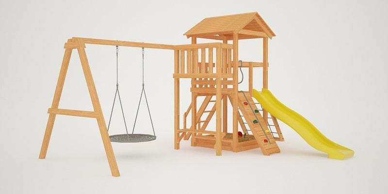 """Детская площадка """"Савушка Мастер"""" - 2 с качелями """"Гнездо"""" 1 метр"""