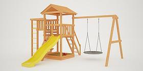 """Детская площадка """"Савушка Мастер"""" - 3 с качелями """"Гнездо"""" 1 метр"""