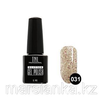 Гель-лак TNL GLITTER #31 серебряный с малиновым блеском, 6мл