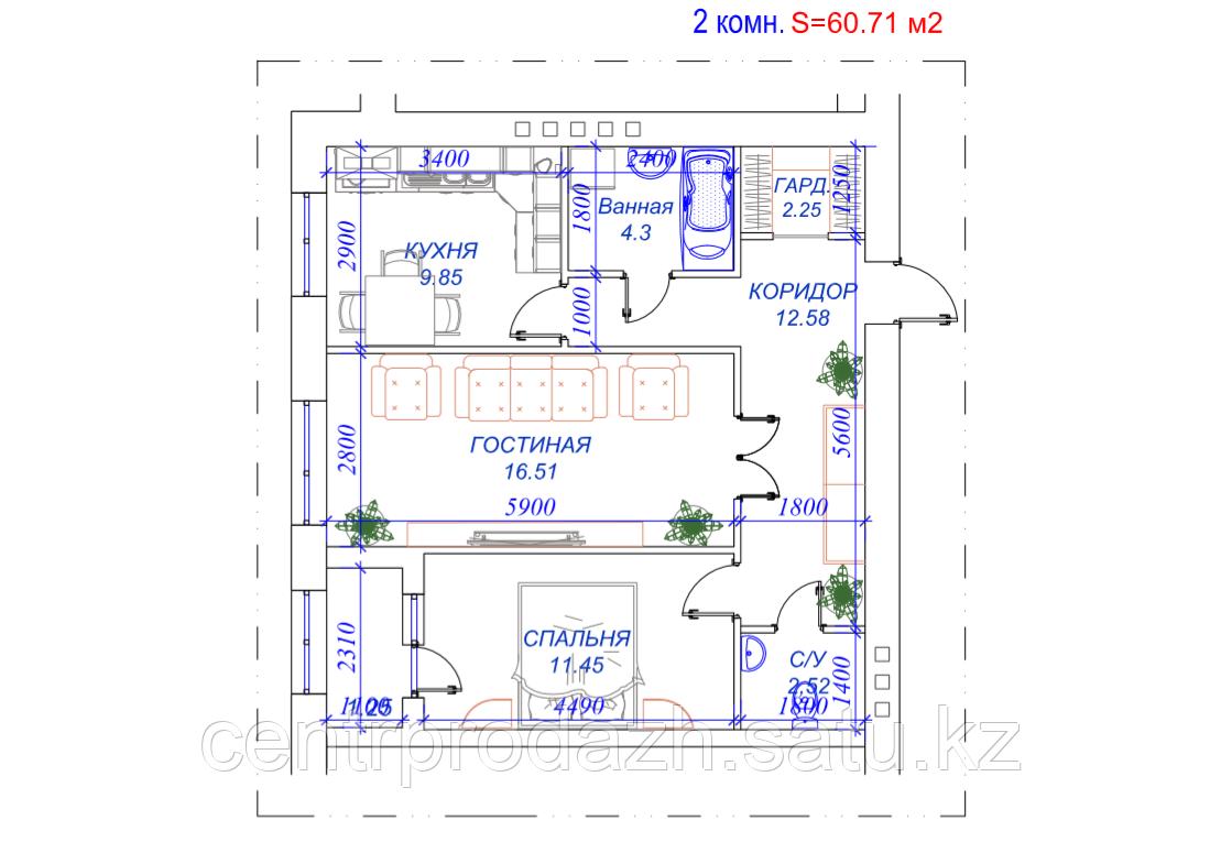 2 комнатная квартира в ЖК Arai Apartments 60.71 м²