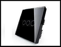 Сенсорный выключатель Touch Me Black (трехлинейный), фото 1