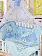 Комплект в кровать Золотой гусь Кошки-мышки голубой, фото 1