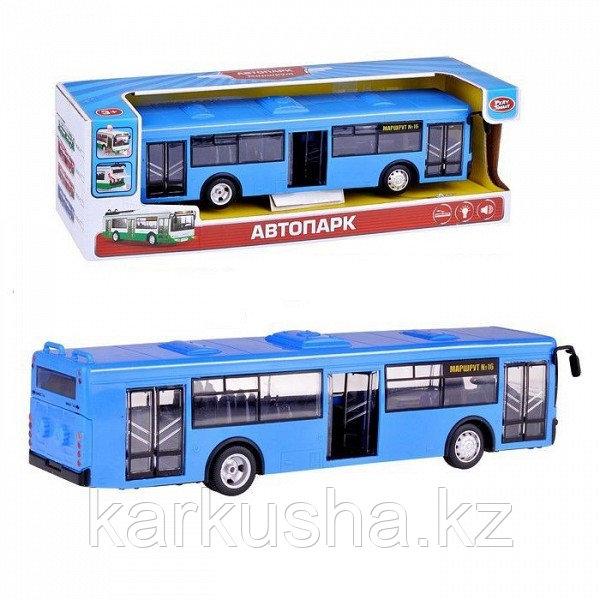 """Инерционный автобус """"Автопарк"""" (свет, звук), синий"""