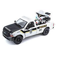 Детская машина H-D 1999 Ford F-350 Super Duty Pickup с мотоциклом H-D 2004 FLHTPI Electra Glide Police, фото 1