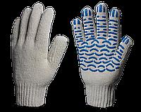 Перчатки х/б с ПВХ Экстра 7,5 класс (Волна) 6 нитей