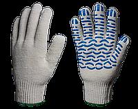 Перчатки х/б с ПВХ Эконом 10 класс (Волна) 3 нити