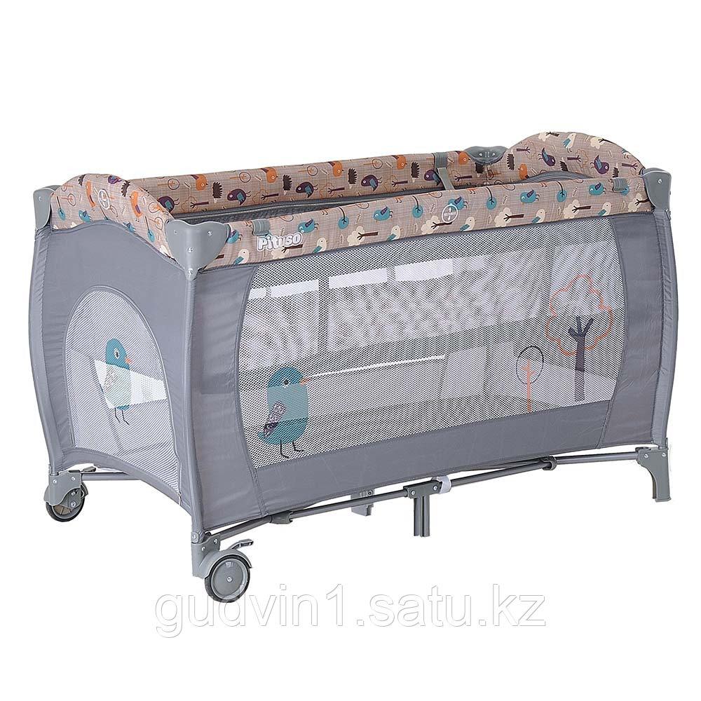 PITUSO Манеж-кровать GRANADA ПТИЧКИ 2-уровневый P613 BIRD