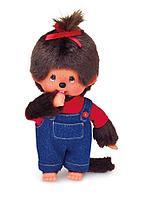 Девочка Мончичи в комбинезоне и красной футболке, 20 см