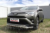 Защита переднего бампера d57+d42 двойная с декоративными элементами Toyota RAV4 2016-18