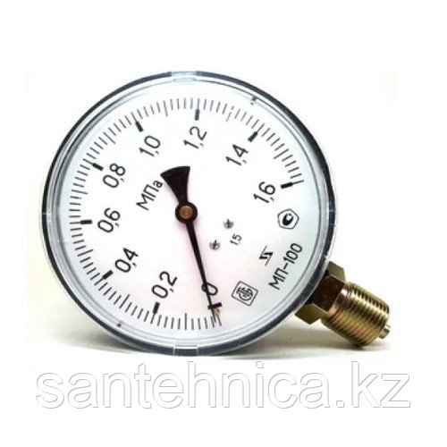 """Манометр МП-100 радиальный Дк100мм 16 бар (1,6 Мпа) G1/2"""" Завод Теплотехнических Приборов"""