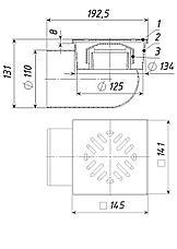 Трап с гидрозатвором Дн 110 с нерж. решеткой 150*150 мм горизонтальный, фото 3
