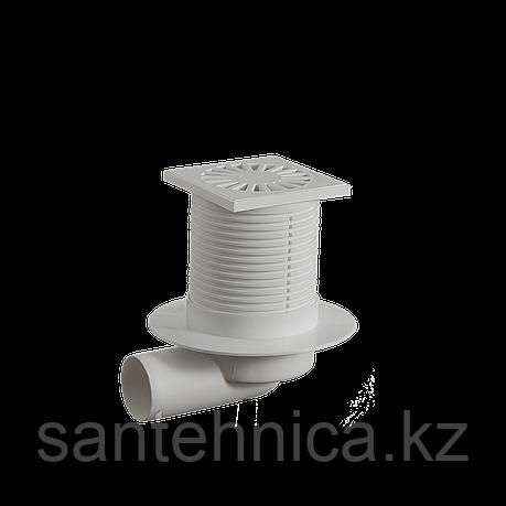 Трап регулируемый Дн 50 с пластиковой решёткой 100*100 мм горизонтальный TO-3110 Орио, фото 2