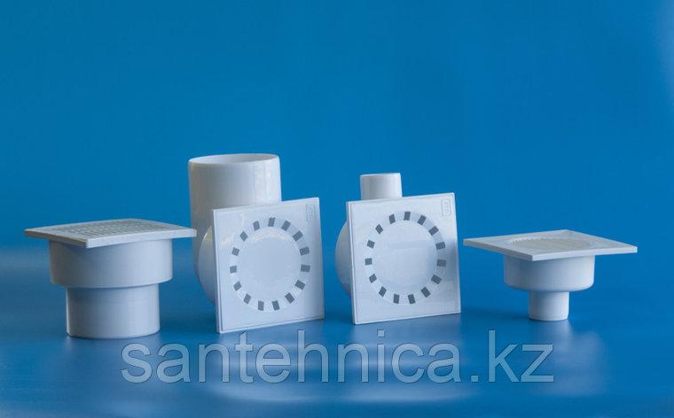 Трап Дн 110 с пластиковой решеткой 150*150 мм вертикальный, фото 2