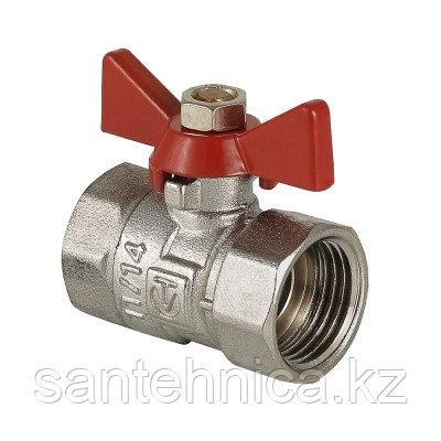 Кран шаровой латунь никель Ду 15 Ру25 внутр./внутр. бабочка Valtec Compact VT.092.N.04