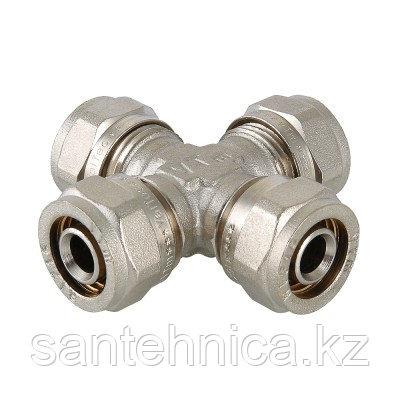 Крестовина для металлопластиковой трубы Дн 20 обжим латунь никель Valtec VTm.341.N.202020