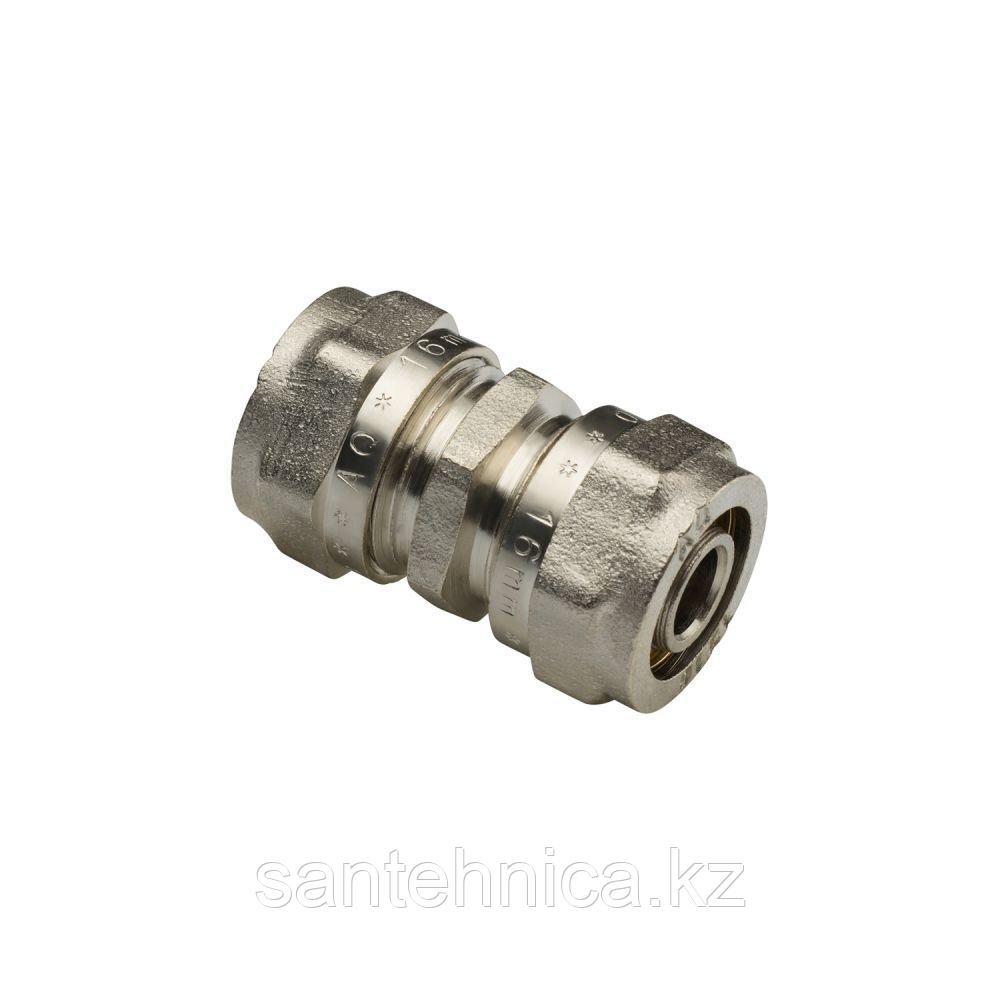 Муфта для м/пласт трубы Дн 20 обжим латунь никель AquaLink