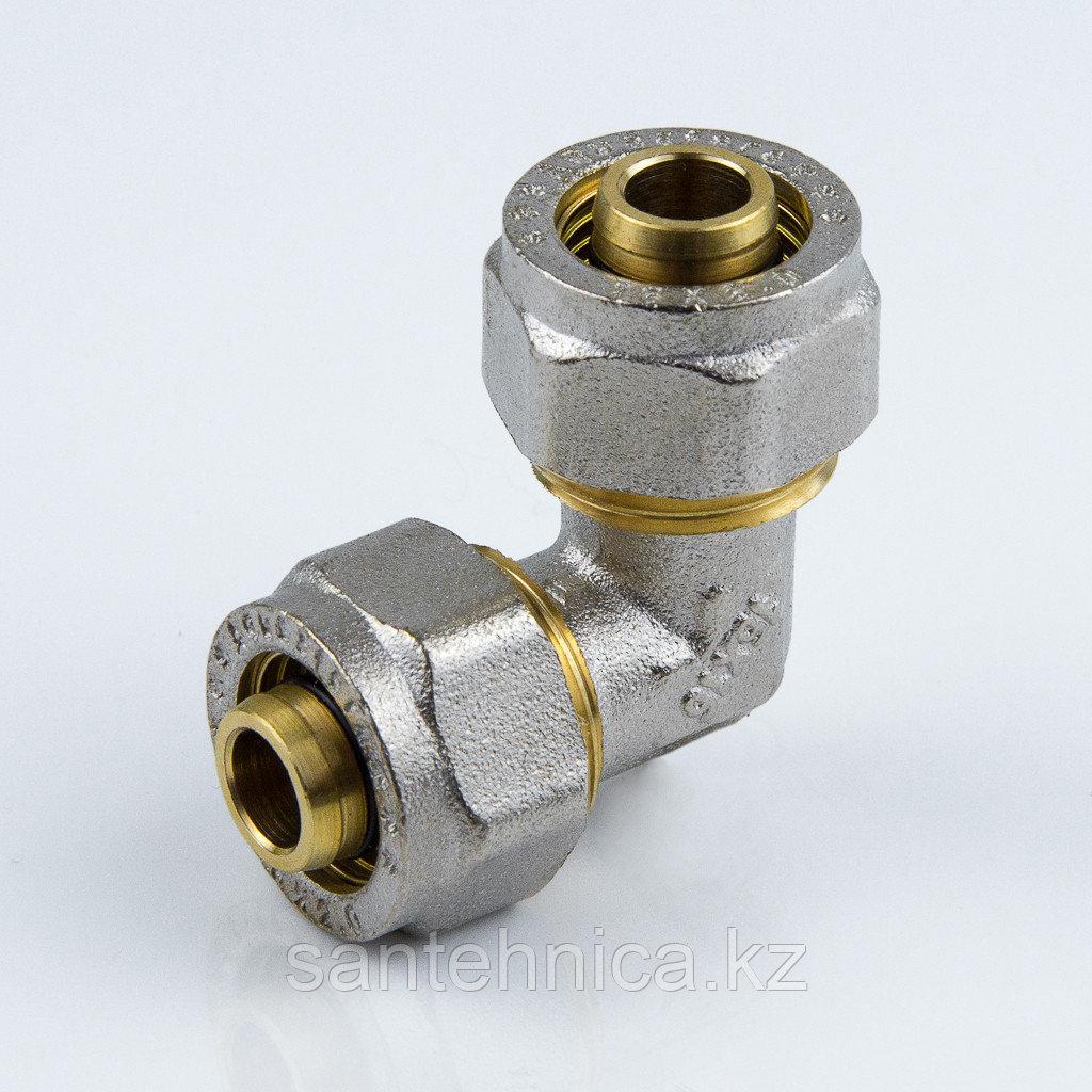 Угольник для металлопластиковой трубы Дн 32 обжим латунь никель Aquasfera
