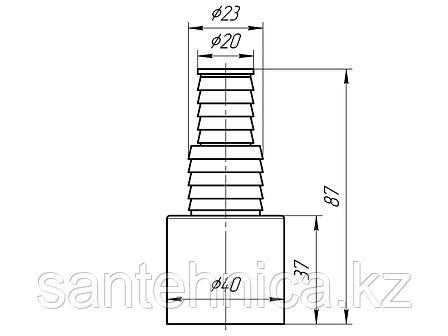 Отвод для подключ. слива бытовой техники D=40 мм 20/23 Ани Пласт М160, фото 2