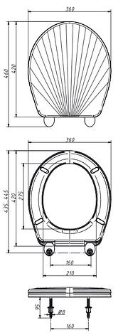 Сиденье для унитаза унив. белое перламутр. люкс КР3-6, фото 2