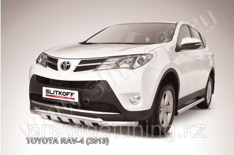 Защита переднего бампера d57+d57 с профильной ЗК Toyota RAV4 2013-15