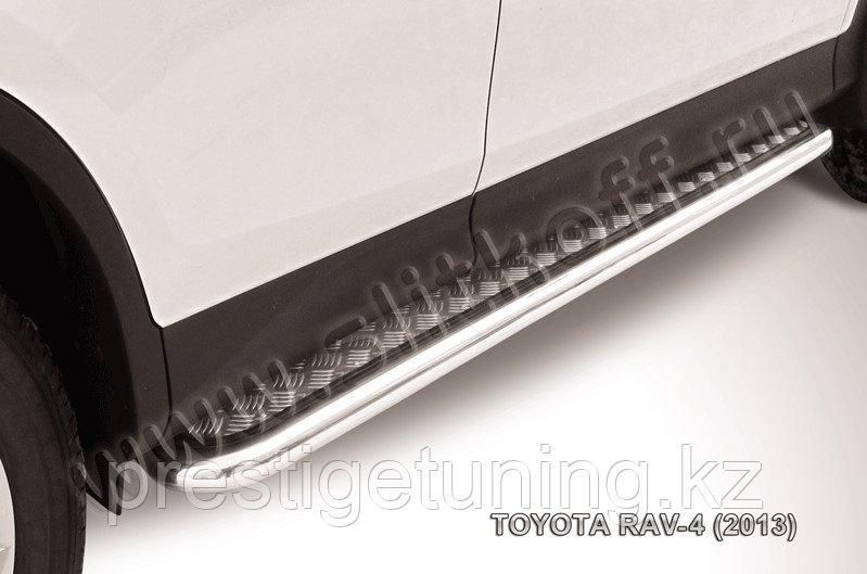Защита порогов d57 с листом усиленная Toyota RAV4 2013-15
