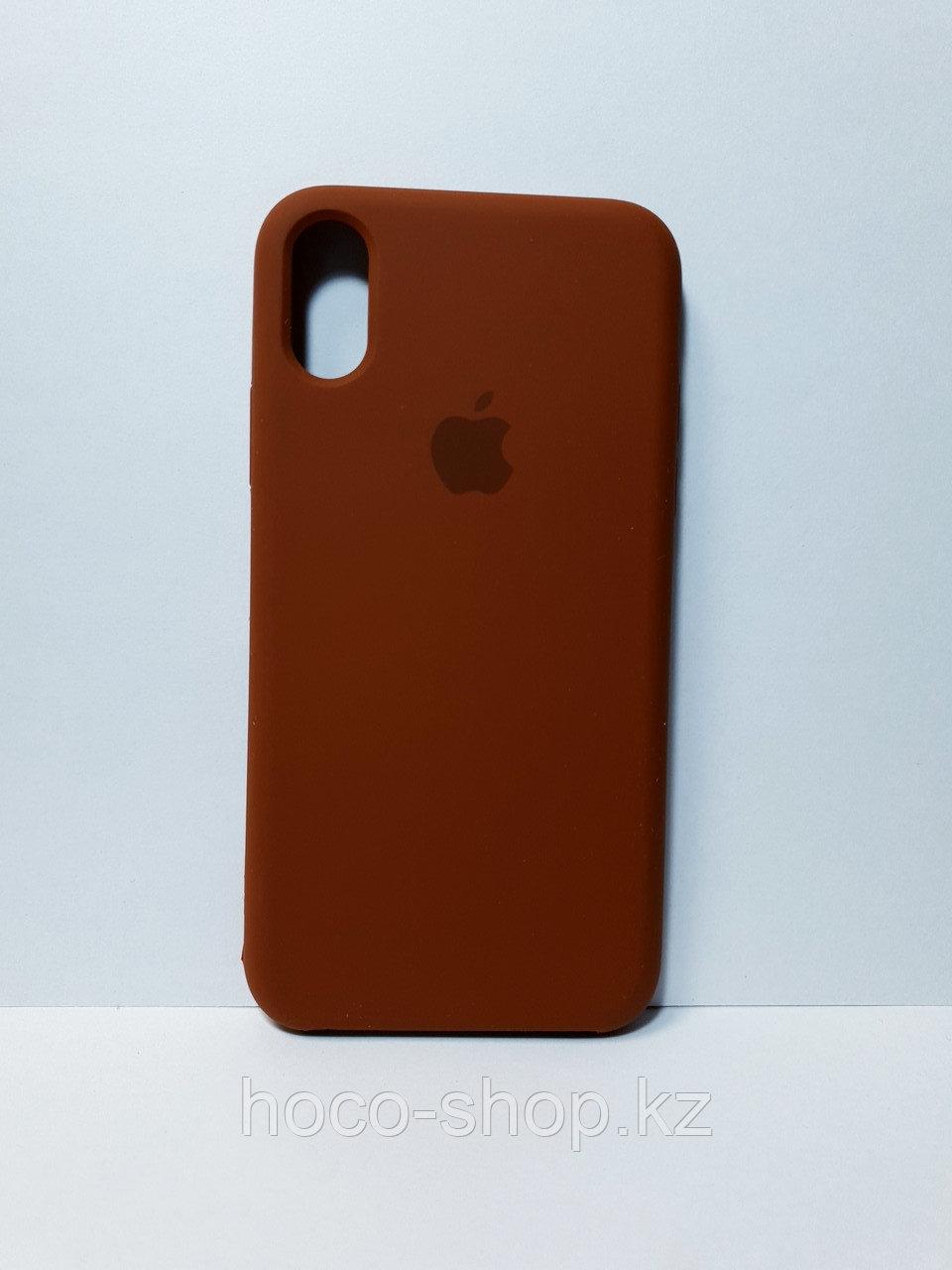 Защитный чехол для iPhone X/Xs Soft Touch силиконовый, коричневый
