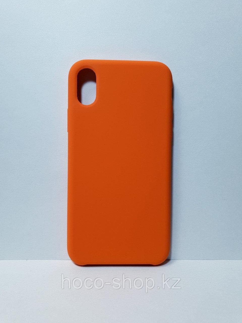 Защитный чехол для iPhone X/Xs Soft Touch силиконовый, оранжевый