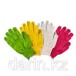 Перчатки в наборе, цвета: белые, розовая фуксия, желтые, зеленые, ПВХ точка, L, Россия Palisad