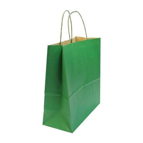 Пакет-сумка (320+120)х320мм Зеленая вельвет,100г/м2, крафт бум. с кручеными ручками, 100 шт, фото 2