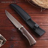 Нож охотничий Мастер К, лезвие 15 см, в чехле, деревянная рукоять, микс