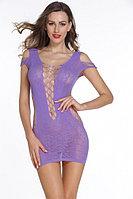 Фиолетовое мини платье сеточка