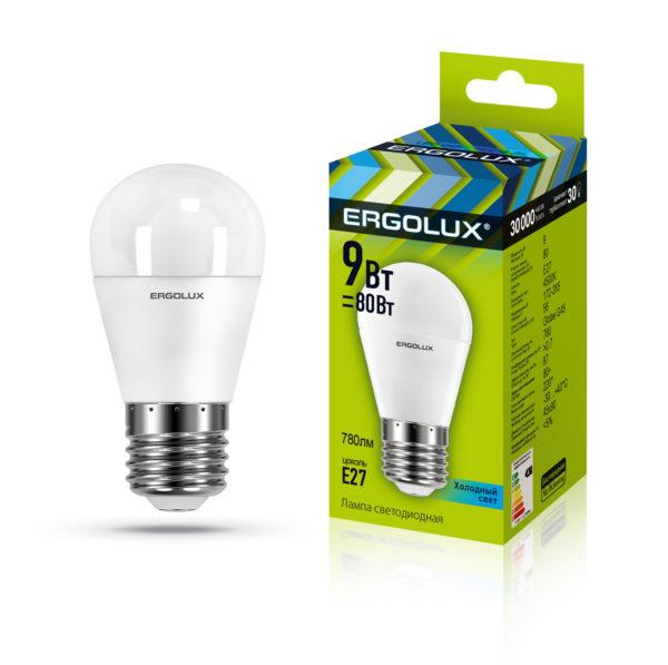 Светодиодная лампа Ergolux G45/4500K/E27/9Вт (холодный)