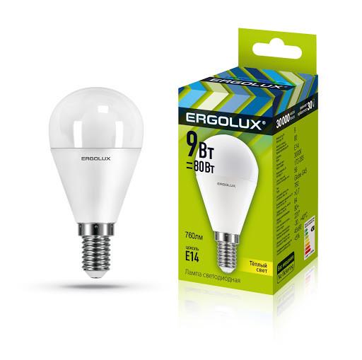 Светодиодная лампа Ergolux LED-G45-9W-E14-3K (тёплый свет)
