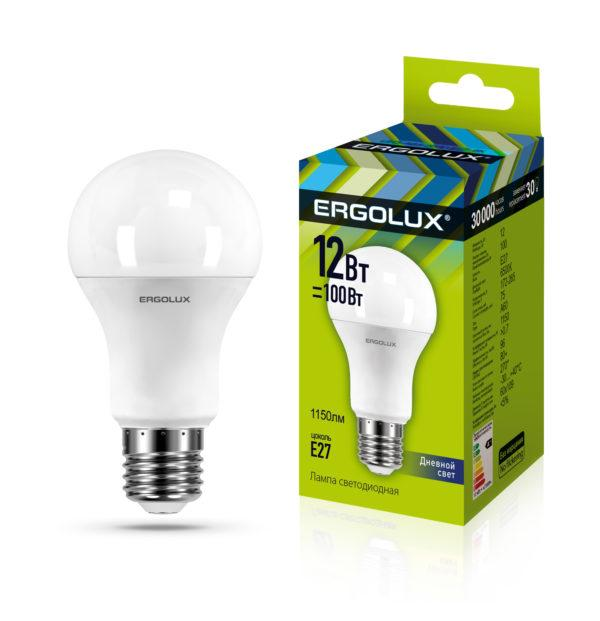 Светодиодная лампа Ergolux LED-A60-12W-E27-6K (дневной свет)