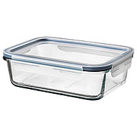 ИКЕА/365+ Контейнер для продуктов с крышкой, прямоугольн формы стекло, стекло пластик, фото 1