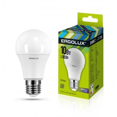 Светодиодная лампа Ergolux LED-A60-10W-E27-6K (дневной свет)