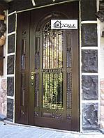 Двери железные двери с ковкой и стеклом